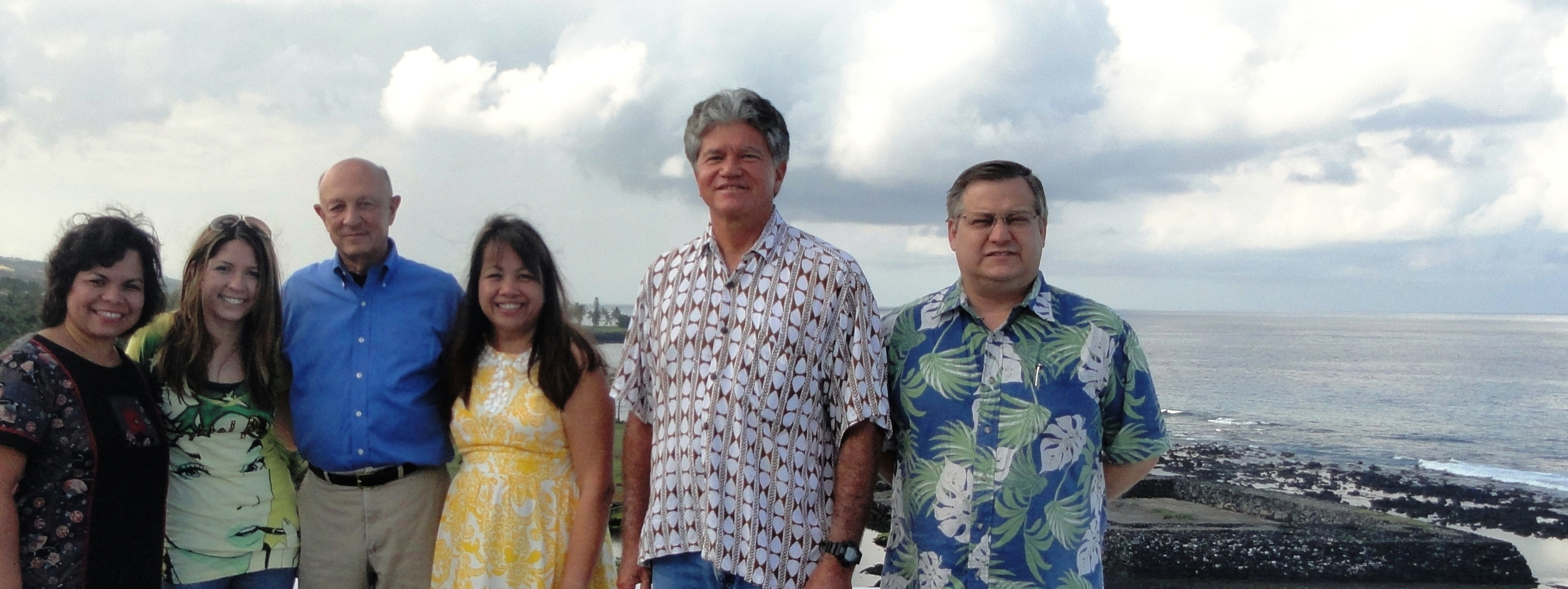 Cropped group on roof with heiau